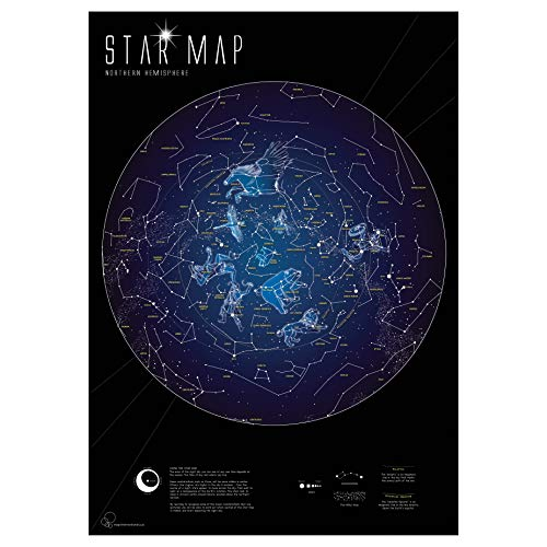 Maps International Im Dunkeln leuchtende Sternenkarte, 59 x 84 cm