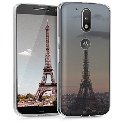 kwmobile Funda Compatible con Motorola Moto G4 / Moto G4 Plus - Carcasa de TPU y Torre Eiffel en Antracita/Rosa Claro/Transparente