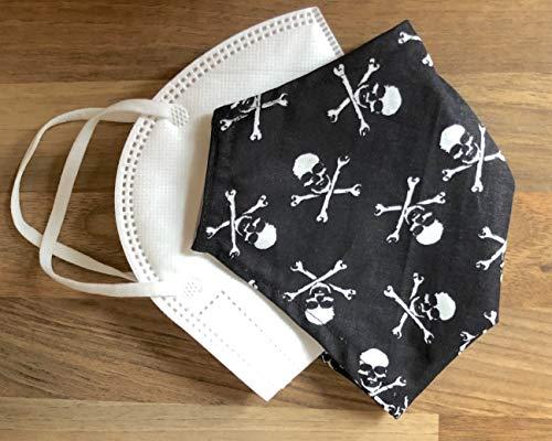 Überzug für Masken verschönern Bezug Cover Abdeckung Verschönerung einlagig wiederverwendbar waschbar Baumwolle wiederverwendbar Totenkopf Mann schwarz weiß Pirat