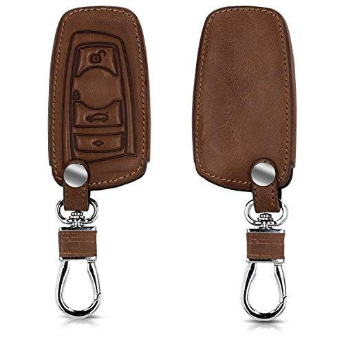 kwmobile Accessoire Clef de Voiture Compatible avec BMW (Keyless Go Uniquement) 3-Bouton - Coque de clé de Voiture en Simili Cuir - Brun foncé