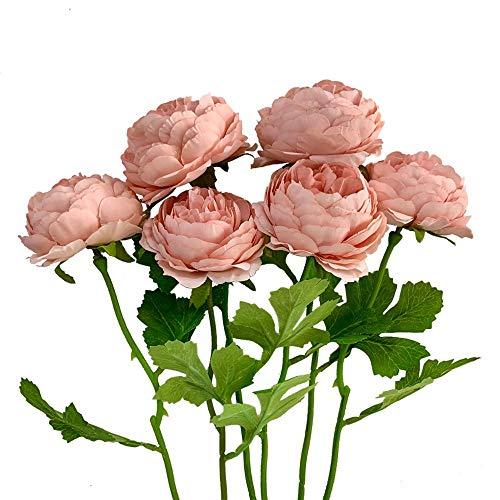 KIRIFLY Künstliche Blumen,Unechte Blumen Deko Künstlich Pfingstrose Gefälschte Seide Dekoration Plastik Blumenarrangements Hochzeit Blumenstrauß Seidenblumen Tisch-Mittelstücke 6 Stück(Rosa)