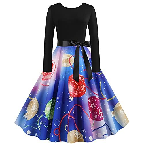 Wave166 Vestido elegante de los aos 50, vintage, rockabilly, vestido de cctel, vestido largo, vestido de Navidad, ropa de calle de fiesta, disfraz de Navidad., azul, XXL