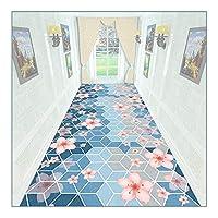 ZEMIN 廊下敷きカーペット、長く狭いホールカーペットランナー、バスルームリビング廊下用滑り止め洗えるフロアマット階段パッド、厚さ6mm (Color : A, Size : 0.8mx10m)