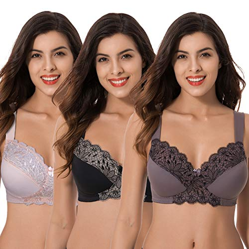 Curve Muse Plus Size Unlined Minimizer Wireless Bras with Embroidery Lace-3Pack-PINK,Black,GRAY-48DDDD