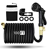 VStoy Expandable Garden Hose 100ft Black,Lightweight Water Flexible Pipe,No Kink Flexibility with 8-Patterns Rotating Spray Nozzle, 3/4 Inch Solid Brass Connector Fittings