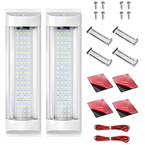 VOTOP Paquete de 2 Barras de luz LED para Techo luz de Techo 72LED, Tiras de luz Interior para Autocaravana, Autocaravana, camión, Autocaravana, Barco con Interruptor, Cable de extensión