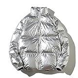 Chaqueta para Hombre Invierno otoño sólido Cremallera Abrigo Outwear espesando Chaqueta Bomber Acolchada Silver Chinese Size XL