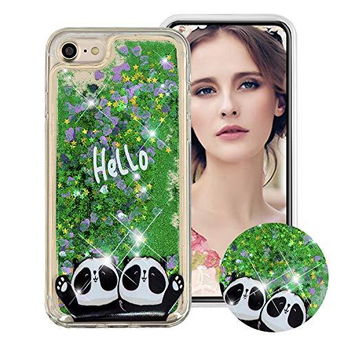 Obesky Liquide Coque pour iPhone 6S Plus, Bling Glitter Paillettes Sables Mouvants Etui de Protection Transparente Silicone TPU Bumper avec Motif Deux Pandas pour Apple iPhone 6 Plus/6S Plus