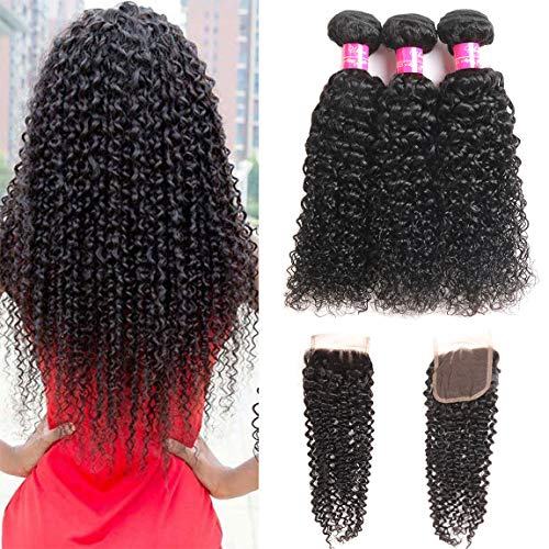 "Brazilian Curly Hair Bundles with Closure Unprocessed Brazilian Virgin Hair 3 Bundles with 4×4 Free Part Closure Natural Black Human Hair 80g/Bundles With Closure(10 12 14+10""Closure)"