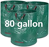 3 Pack 80 Gallons Reusable Lawn Garden Bags (D26', H33' inches) Reusable Yard Waste Bag Leaf Bag Patio Standable Bag Trash Containers Plant Clippings Bag with 4 Handles Gardening