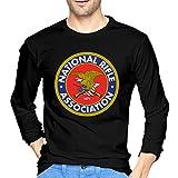 NRA National Rifle Association Logo T-Shirt Men Long Sleeve T Shirt Round Neck Tee Shirts Black