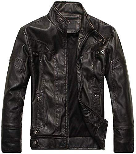 Heren Solid Fleece Wash met Pocket PU Leather Stylish Overcoat Outerwear