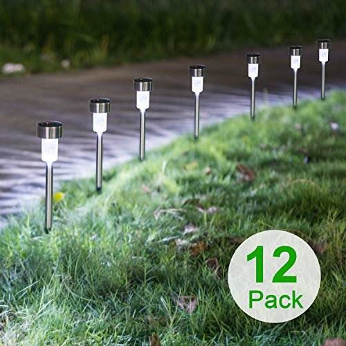Sunnest 12Pack Solar Lights Outdoor, Solar Garden Lights, Pathway Lights Outdoor, Landscape Lighting for Lawn/Patio/Yard/Walkway/Driveway(Stainless Steel)