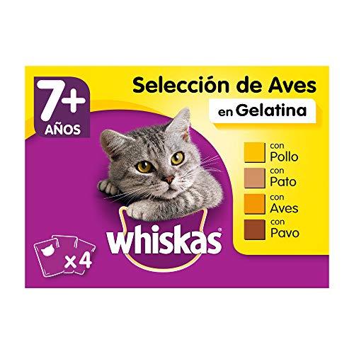 Whiskas Comida Húmeda para Gatos Senior Selección Aves en Gelatina, Multipack (Pack de 13 x 4 bolsitas x 100g) ⭐