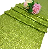 ShinyBeauty Sequin Table Runner, 12 by 72-Inch-Lime Green Pack of 1,Shimmer Table Runner, Bling Table Runner, Wedding Table Runner, Custom Table Runner