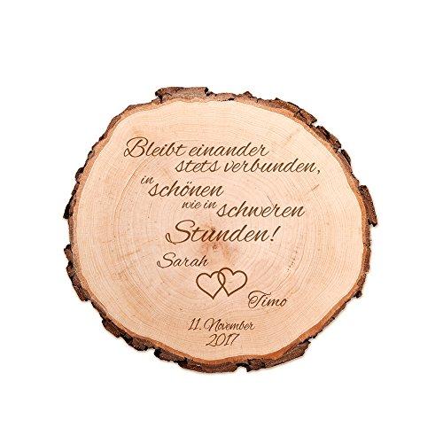 Casa Vivente Baumscheibe mit Gravur – Personalisiert mit Namen und Datum – Motiv Herzen – Dekoration – Türschild – Geschenkidee zur Hochzeit – Hochzeitsgeschenk