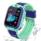 Gps reloj smartwatch para niños, impermeable gps rastreador reloj anti-perdida de teléfonos inteligentes sos, llamada bidireccional juegos matemáticas - regalo para para niños niña 3-12 años,mint blue