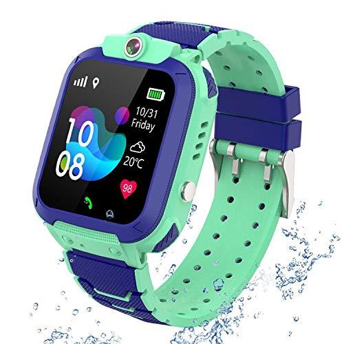 GPS Tracker Kids Smartwatch Phone per Bambini Impermeabile, Localizzato pedometro con Chat Vocale, Sveglia SOS per il Gioco di Matematica Kids Smart Watch, Regalo Ragazzo e Ragazza (GPS-S12-BLUE)