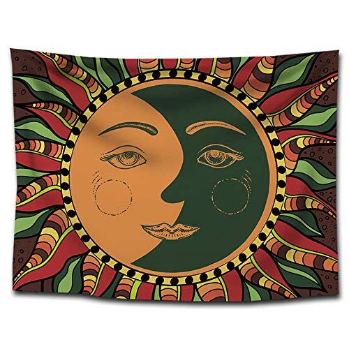 bjyxszd Decoración de Dormitorio Alfombrilla para Yoga Toalla para playaPinturas de decoración de Tapiz de Sol y Luna,Tapiz de hogar Tapiz fotografía Fondo Mantel-5_Los 75 * 100cm