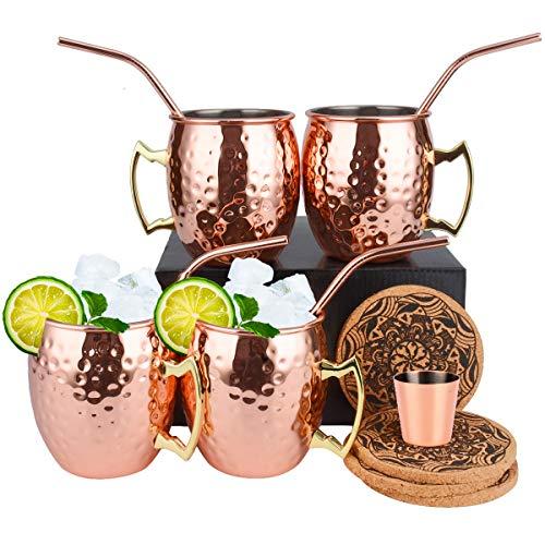 Eligara Moscow Mule Becher Kupferbecher (Premier) Gehämmert und Handgefertigt Kupfertassen mit 4 Gläsern, 4 Untersetzer, 4 Trinkhalme, 1 Messbecher, Bier, Gin, Vodka, Cocktails und Wasser genießen