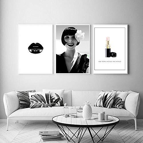 Fashion parijs merk model lippenstift sexy lippen muur canvas schilderij nordic poster en print muur foto voor woonkamer decor 40x60 cm x 3 geen frame
