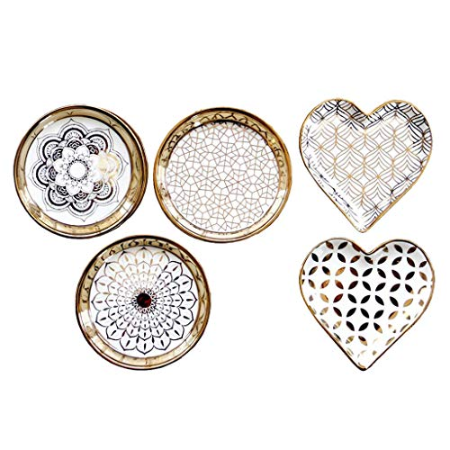 FLAMEER 5pcs Ceramic Dish Plates Moasic Pattern Delicate Home Dish for Desset Snacks