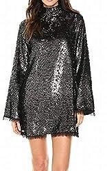 Silver/Multi Sequin Mock Neck Dress