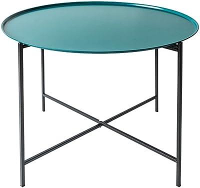 C-J-Xin Metal Coffee Table, Bedroom Living Room Iron Art Creative Tea Table Decoration Multifunction Sofa Side Bar Leisure Table Save Space (Color : BLUE-46 * 60CM)