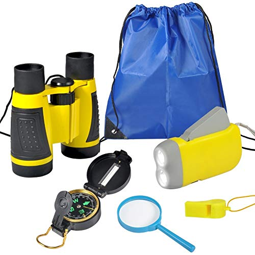Kit de Aventura para Niños 6 Piezas Binoculares Linterna de Manivela Mini Brújula Lupa Silbido Mochila con Cordón Kit de Juguetes de Exploración(Amarillo)