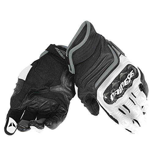 Dainese-CARBON D1 SHORT Guantes, Negro/Blanco/Antracite, Talla S