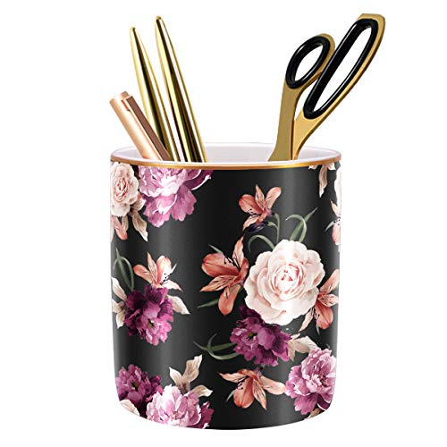 WAVEYU Pen Holder for Desk, Pencil Cup Holder for Desk, Cute Floral Makeup Brush Holder Durable Ceramic Flower Design Desk Pencil Organizer Ideal Gift for Office, Classroom, Black