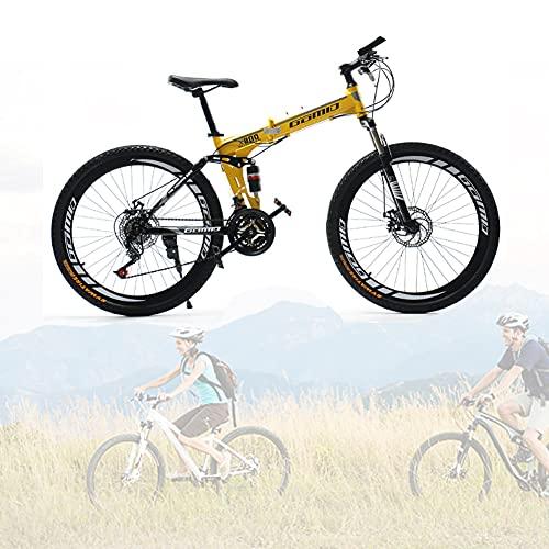 Bicicleta Plegable para Adultos, 24 26 pulgadas Bike Sport Adventure, Bicicletas de cross-country con doble amortiguación para hombres y mujeres/A / 24speed / 26inch