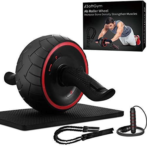Bauchmuskeltrainer für Bauchmuskeltraining, Fitness, Bauchroller mit Knie-Matte und Sprungseil, perfekte Heimgymnastikausrüstung für Männer und Frauen