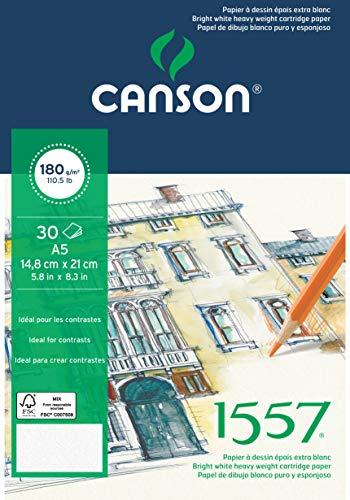 Bloc Encolado, 15x21 cm, 30 Hojas, Canson JA 1557, Grano Fino 180g