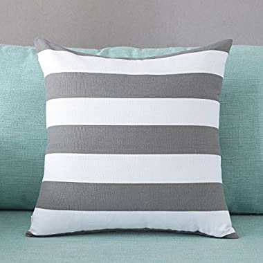 TAOSON Home Decorative Cotton Canvas Square Throw Pillow Cover Cushion Case Stripe Toss Pillowcase with Hidden Zipper Closure Multiple Colors (18 x18 (45x45cm), Deep Gray)