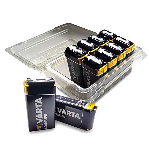 Varta Longlife Batterie (9V Block, Alkaline 6LP3146, 10er Pack) in wiederverschließbarer original WEISS - more power + Batteriebox
