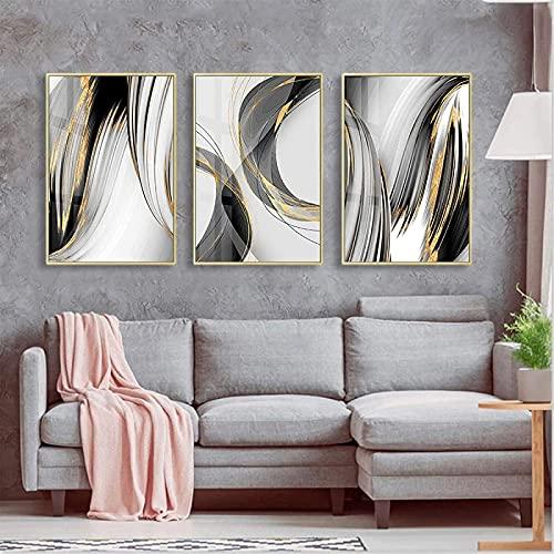 SXXRZA Impresión en Lienzo 3 Piezas 30x50cm Sin Marco Línea Negra Abstracta y Dorada Carteles Modernos Impresiones Arte de la Pared Imágenes para la Sala de Estar Dormitorio Decoración del hogar