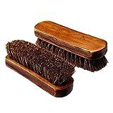 Set di 2 pezzi Spazzola per scarpe 100% a pelo di cavallo in legno, con manico sagomato; setole morbide, colori marrone per la pulizia o per la lucidatura