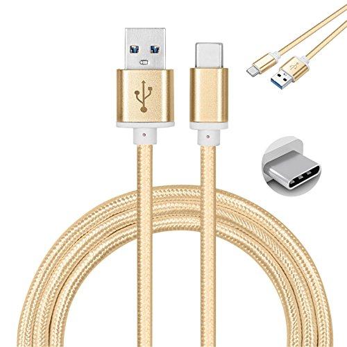 Galaxy SuperStore ASUS ZenPad S8 Cable Tipo C 1M Cargador Tipo C Trenzado de Nylon Cable USB Type C – Oro [Conectores de Metal] [USB-C a USB A]