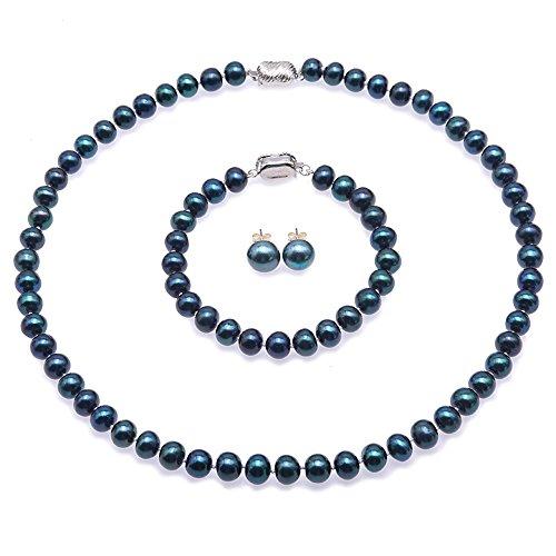 JYX perlenschmuck set Schmuckset Silber 925 Damen Schmuckset Silber 925 Damen Perlenkette Set Damen Schmuck - 8-8,5mm gefärbt-blau Süßwasser Zuchtperlen Halskette Armband und Ohrringe Schmuck-Set
