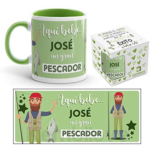 Kembilove Taza de Café del Mejor Pescador del Mundo Personalizada con el Nombre – Taza de Desayuno para la Oficina – Taza de Café y Té para Profesionales – Taza Impresa para Pescadores