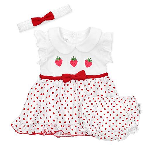 Baby Sweets 3er Baby-Set Kleid, Pumphose & Baby-Haarband/Newborn Babykleidung Mädchen in Weiß & Rot/Outfit Baby Kleid im Erdbeer-Motiv/Taufkleid Neugeborene & Kleinkinder Größe 3-6 Monate (68)
