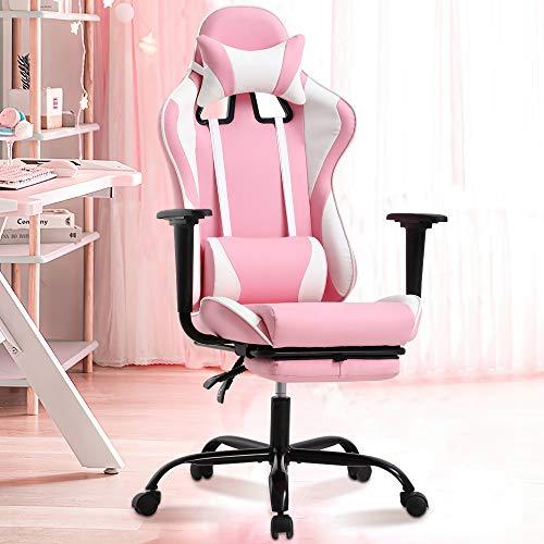 Gaming Chair Office Chair High Back Computer Chair Ergonomic PC Racing Chair w/Lumbar Support & Retractable Footrest PU Leather Recliner Swivel Executive Desk Chair for Women Men Girls Adults, Pink