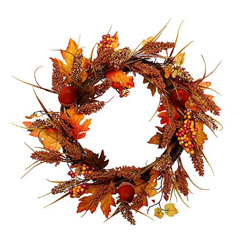Halloween Wreath, Autumn Decoration With Light Maple Leaf Wheat Ear Door Table Wreath Wall Decoration Thanksgiving Christmas Leaf Pendant Wreaths 50cm A