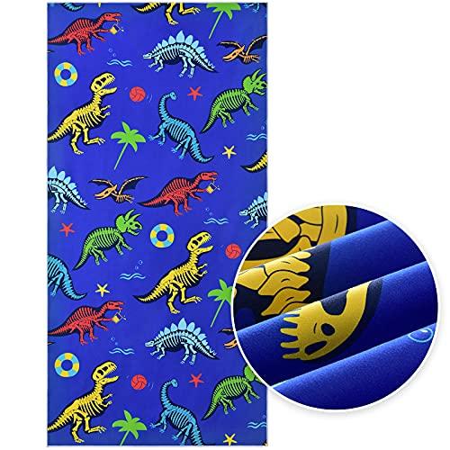 Telo Mare Dinosauro - 76 x 152cm Asciugamani da Campeggio Microfibra per Ragazzi Bambini...