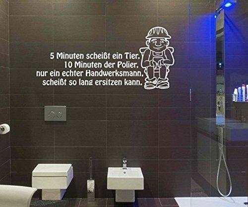 Wandtattoo WC Spruch Toilette '5 Minuten ' Sticker Aufkleber Wandbild 1K158, Farbe:Dunkelgrau Matt;Breite vom Motiv:40cm
