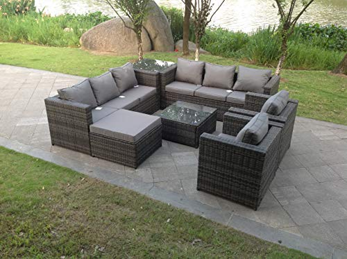 Fimous 9 Seater Grey Rattan Corner Sofa Set Dining Table Foot Rest Garden Furniture Outdoor