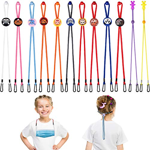 12 Pieces Adjustable Lanyard for Face Covering Cartoon Kid's Bandanas Eyeglass Chain Holder Rope Neck Strap with Clips
