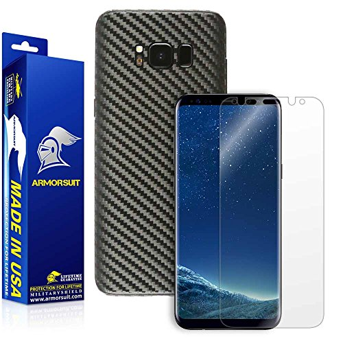 Armorsuit MilitaryShield Black Carbon Fiber Skin Wrap Film + HD Clear Screen Protector for Samsung Galaxy S8 - Anti-Bubble Film