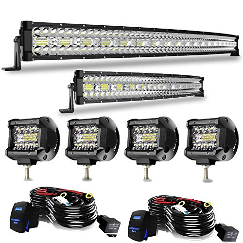 Led Light Bar T-Former 48/50 Inch 936W+ 20/22 Inch 390W Curved Triple Row Combo Light Bars Kit + 4Pcs 4 Inch Offroad Driving Fog Lights W/Rocker Switch Wiring Harness Kit for Jeep Tucks Polaris Boats